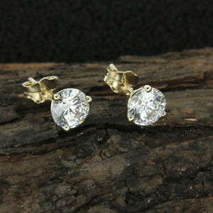2.ct Round Stud Solitaire Diamond Earrings Martini 14k Yellow Gold For Women's