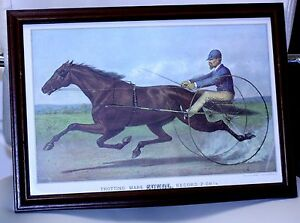 vintage lithograph reprint CURRIER amp; IVES grand california trotting mare SUNOL $14.99