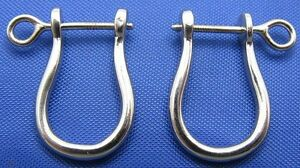 Sterling Silver Shackle Earring Pair Screw Post Pirate Nautical Mens Jewelry