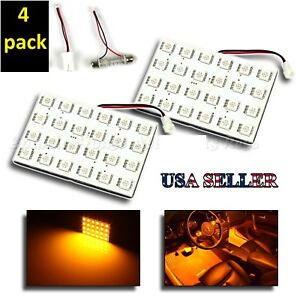 4 pack LED Panel for Car interior Landscape lighting 12V Amber yellow T10 T15