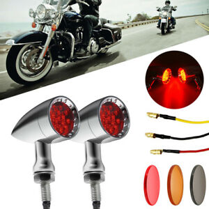 Chrome Motorcycle Bullet LED Turn Signal Red Lights Indicator Fit Harley Chopper