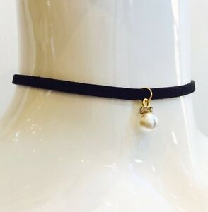 KAMAL BEVERLY HILLS Black LEATHER PEARL CHOKER Necklace NWT BLESSBOX