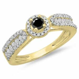 0.80 ct 14 ct Yellow Gold And Black Diamond Vintage Halo Engagement Ring 34 CT