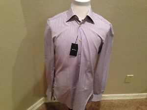 $895 Kiton Dress Sport Shirt 100% Cotton hand made in Italy size 1812