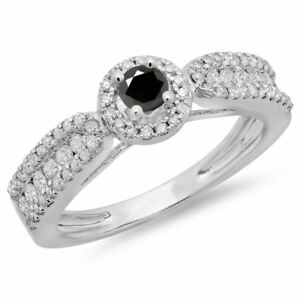 0.80 ct (ctw) 14 ct Gold And Black Diamond Vintage Halo Engagement Ring 34 CT