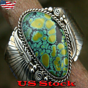 Vintage Signed Silver Spiderweb Turquoise Navajo Feather Ring for Women Gift New