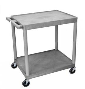 LuxorH.Wilson 2 Shelf Utility Cart Gray (TC22-G)