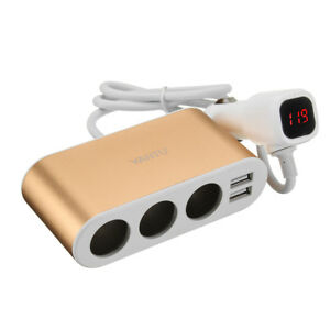 USSTOCK 1Color Only Dual USB Port 3 Way Auto Car Charger Car Cigarette Lighter S