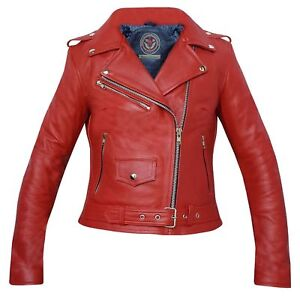 Ayrah® LADIES GENUINE COWHIDE ANALIN LEATHER BRANDO BIKER STYLE JACKET - RED