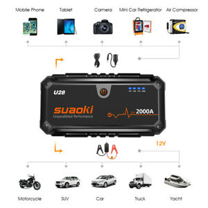 U28 2000A Peak Jump Starter USB Power Bank with Battery Clamps for 12V Car