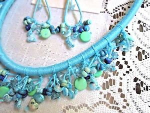 TURQUOISE BLUE DANGLE NECKLACE PIERCED EARRING SET by SUE COX MIXED MATERIALS