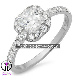1.50Ct VVS1 Princess DIAMOND 14K WHITE GOLD Promise Halo Ring Engagement WANDA