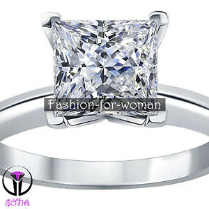 2.00Ct VVS1 DIAMOND 14K WHITE GOLD Promise Ring Solitaire Woman Engagement LOIS