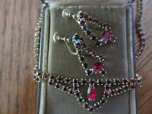 Antique costume jewelry - ruby necklace and earrings