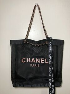 CHANEL Mesh Beach Tote ROSE Gold Chain VIP Gift