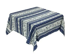 Provencal 100% Coated Cotton Tablecloth Avignon Flowers Blue Made France 61X61