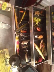 Vintage Tackle Box Loaded with Lures  Reel and Accessories