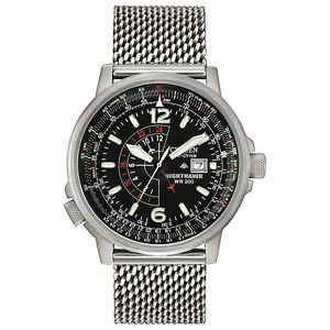 Citizen Eco-Drive Men's BJ7008-51E Nighthawk Silver-Tone Bracelet 42mm Watch