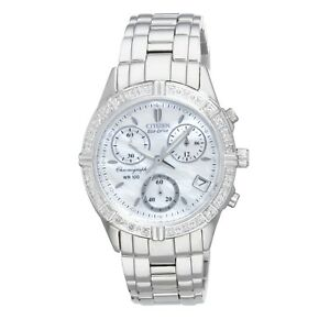 Citizen Eco-Drive Women's FB1180-56D MOP Dial Silver-Tone Bracelet 30mm Watch