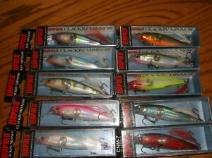 RAPALA  CLACKIN MINNOW 07's=LOT of 10 DIFFERENT COLORED FISHING LURES-CNM07