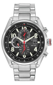 Citizen Eco-Drive Men's CA0368-56E Chronograph Silver-Tone Bracelet 45mm Watch