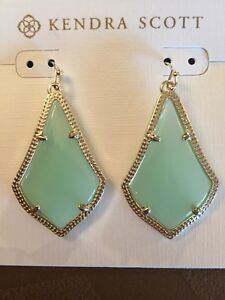 Kendra Scott Authentic Alex Drop Earrings in Chalcedony and Gold Plated