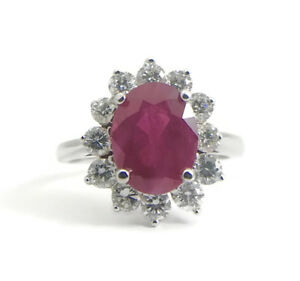 Oval Red Ruby Diamond Halo Cocktail Ring 18K White Gold Size 5.5 3.83 Grams