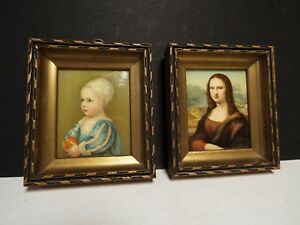 2 Small Antique Portraits Mona Lisa and the other ??? $89.00