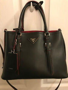 NWT Prada City Sport Black and Red Tote--Gorgeous Lambskin Smooth Leather 1BG883
