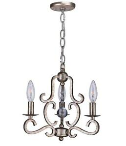 Crystorama 9347-OS Orleans Mini Chandeliers 13in Olde Silver Steel 3-light