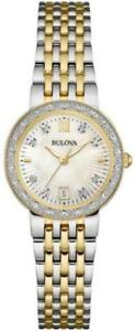 Bulova Women's 98W211 Quartz Diamond Accents Two-Tone Bracelet 26mm Watch