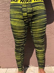 Nike Dry Running Pants Tights DRI FIT Black Yellow 848062 358 Mens Size SLXL $23.99