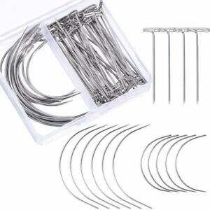 Wig Making Pins Needles Set Wig T Pins and C Curved Needles Hair Weave Needles $7.99