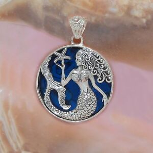 Mermaid Starfish Pendant Blue Abalone Sterling Silver Round