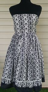 NWT J CREW WOMEN SZ 12 COCKTAILPARTYEVENING DRESS WHITE WBLACK FLORAL DESIGN