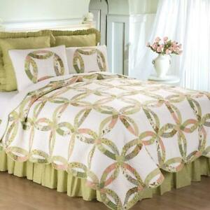 Annie's Wedding Ring Queen Quilt Set Traditional Quilt+ 2 Shams, Scalloped Edge