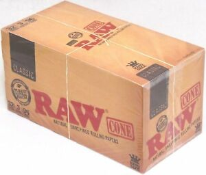 RAW Classic King Size Pre-Rolled Cones Rolling Papers Box 32 Packs 96 Cones
