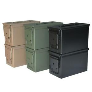 Durable Black and OD Green 0.50 Cal 12-in x 6-in Steel Metal Ammo Storage Boxes