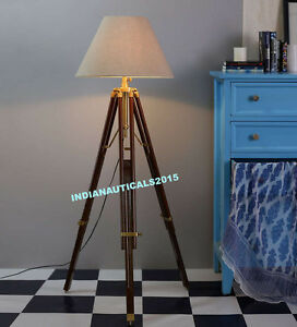 Best Designer Wooden Nautical Tripod Floor Lamp shade Stand Home Decor
