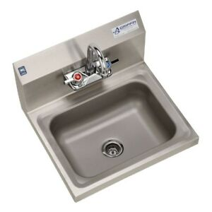 Kitchen Sink 17x15.5x13 in Wall Mount 2-Hole Single Bowl Stainless Steel