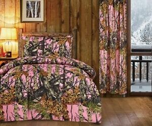 3 PC PINK CAMO SHEETS PILLOW CASE CAMOUFLAGE TWIN NO COMFORTER REGAL COMFORT
