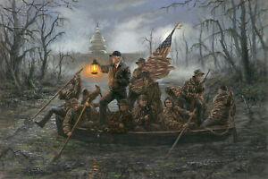 Jon McNaughton CROSSING THE SWAMP 10x15 Donald Trump Delaware River Art Print