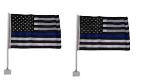 2 Pack 12x18 USA Police Thin Blue Line Double Sided Car Window Vehicle Flag