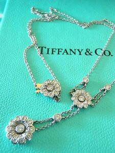 TIFFANY & CO. PLATINUM 'ROSE COLLECTION' DIAMOND FLORAL PENDANT NECKLACE
