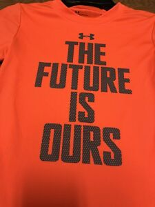 New Under Armour Boys Gray Orange The Future Is Ours Dry Fit Shirt Size 4