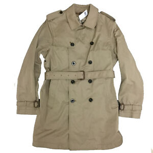 Coach 84345 Men's Crosby Trench Coat Classic Belted Waterproof Jacket Khaki Tan