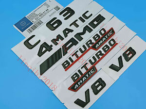 C63AMG4 MATIC BITURBO Letters Trunk Embl Badge Sticker for Mercedes Benz 2#