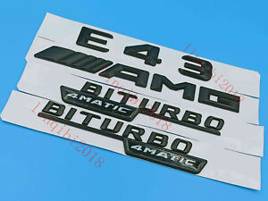 black E43 AMG  BITURBO Letters Trunk Embl Badge Sticker for Mercedes Benz #1