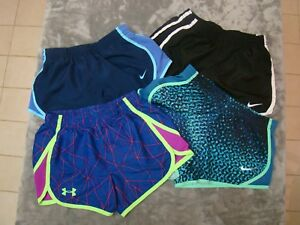 Lot of 4 Girls Nike Lined Dri Fit(3) & Under Armour(1) Running Shorts Youth XS