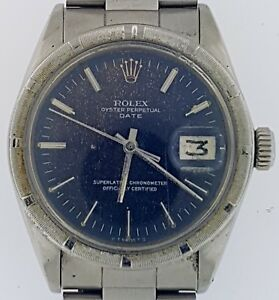 ♛ ROLEX ♛ OYSTER PERPETUAL DATE~Model #1500~Black Tropical Dial~1969~Estate